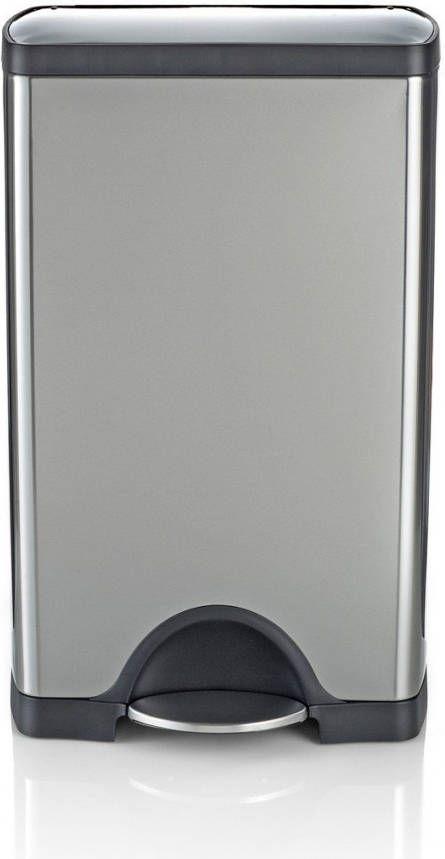 Simplehuman Afvalemmer Rectangular 38 Liter Mat Rvs.Simplehuman Rectangular Classic Prullenbak 38 L Zilverkleurig