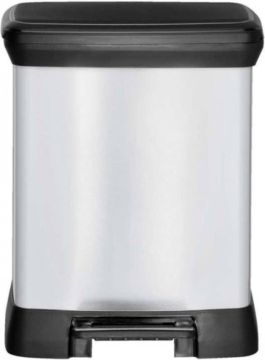 Curver Decobin Pedaalemmer 50 L Zilver Metallic Zwart.Curver Decobin Pedaalemmer 30 Liter Rechthoekig