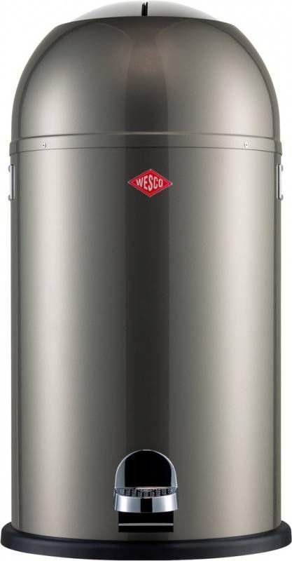 Wesco Kickmaster 33 Liter Zilver.Wesco Soft Close Kickmaster Prullenbak 33 L Nieuw Zilver
