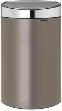 Brabantia Vuilnisbak 40 Liter.Brabantia Touch Bin 40 Liter Platinum Matt Steel Deksel