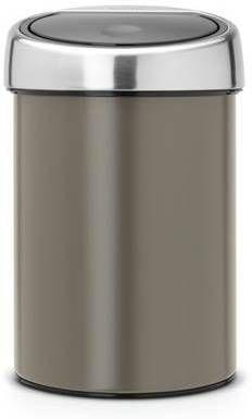 Brabantia Wandafvalemmertje 3 Liter Touch Bin Met Kunststof Binnenemmer En Matt Steel Deksel Metallic Mint 364402 Prullenbakwebshop Nl