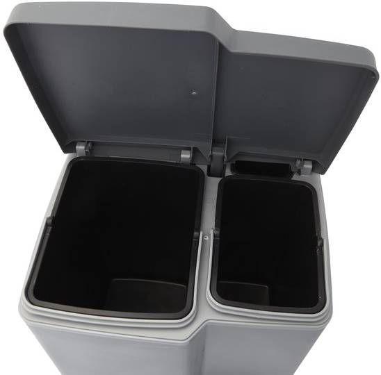 Curver Duo Pedaalemmer Zilver Antraciet.Curver Duo Pedaalemmer 15 L 6 L Zilver Antraciet