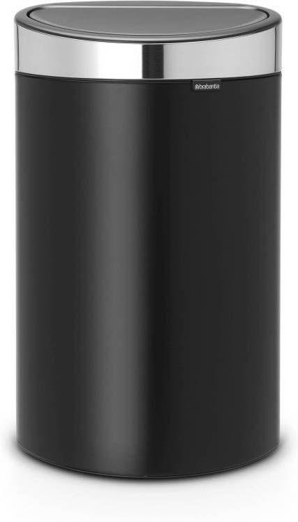 Brabantia Vuilnisbak 40 Liter.Brabantia Touch Bin 40 Liter Matt Black Matt Steel